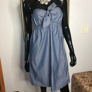 J Crew Chambray Strapless Halter Boho Dress